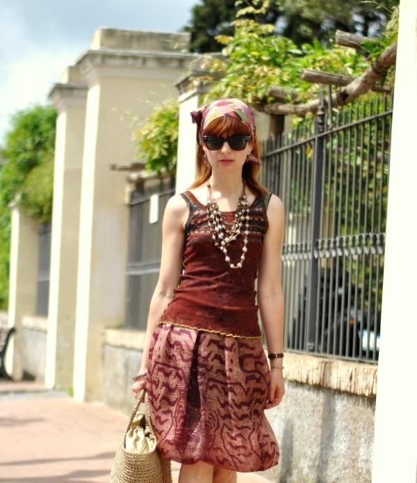 spring outfit. Miu Miu silk skirt